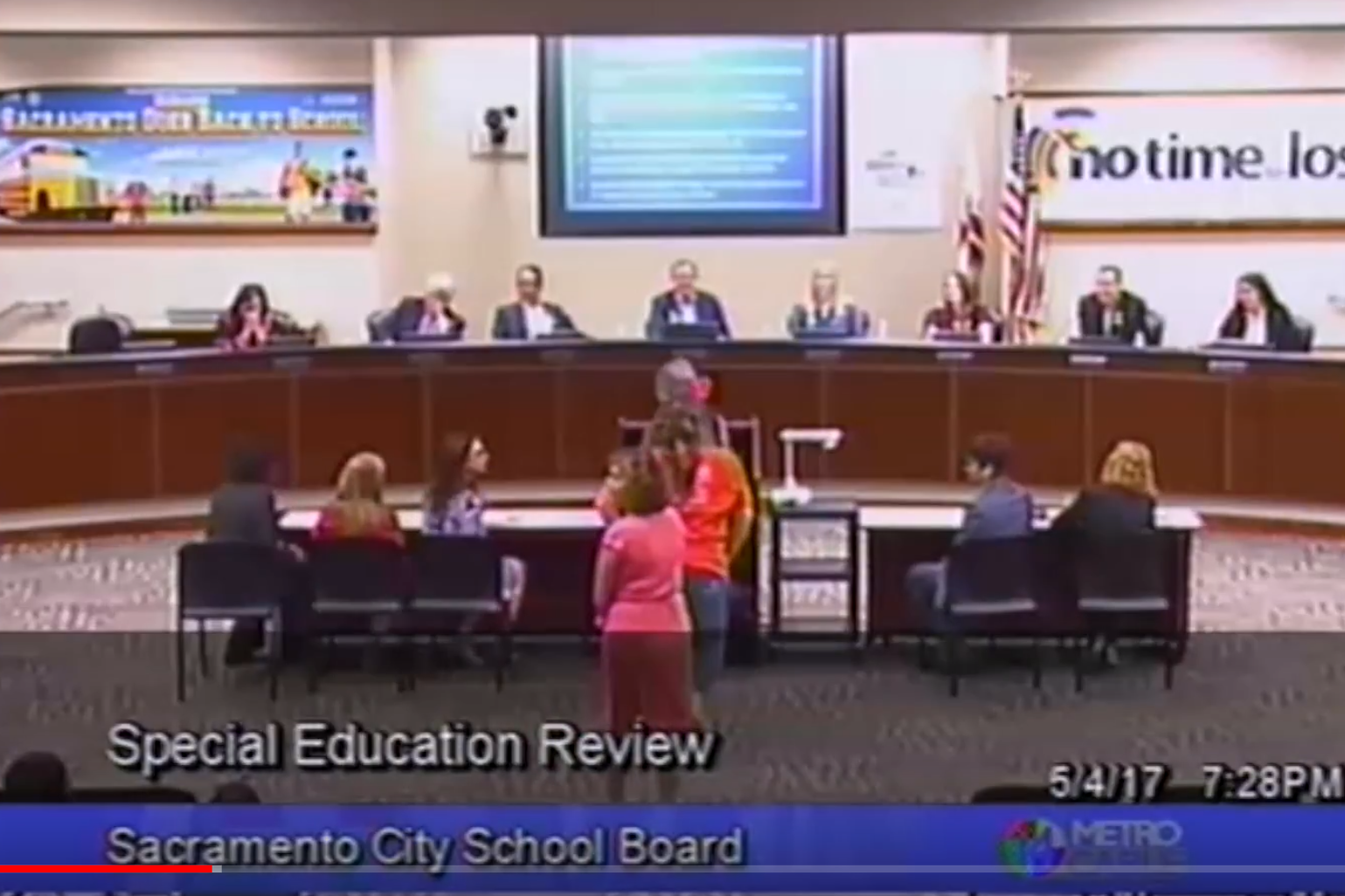 Sacramento City Unified School District parents advocating at a school board meeting