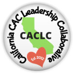 """CAC Leadership Collaborative Logo, a bright green cutout of the state of CA in the center with the letters CACLC in the center of the state, a red heart tilted to the left side at the bottom, says """"est. 2012"""", Around the boarder in a circle, the writing says California CAC Leadersihip Collaborative in black writing."""
